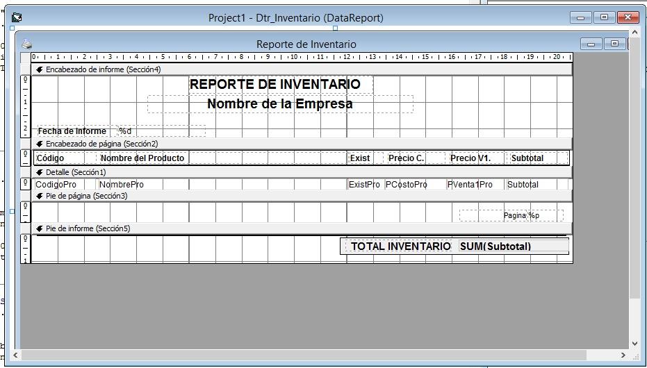 Reporte de Inventario en DataRepor Visual Basic 6